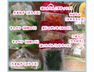 ダンボールから出した9種類の野菜